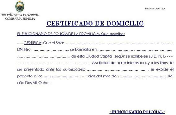 Certificate of domicile in Argentina