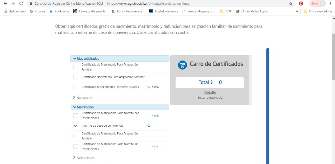 How to apply for the certificate of termination of coexistence in Chile?