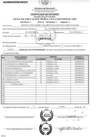 Certificate of studies