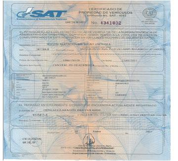 Process the vehicle ownership certificate in Guatemala